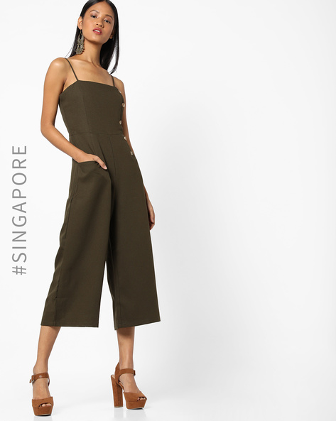 Strappy Jumpsuit With Insert Pockets By MDS ( Green )