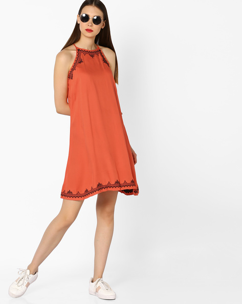 Strappy Shift Dress With Embroidery By And ( Coral )