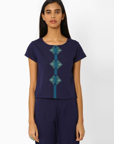 Embroidered Top With Panel By AJIO ( Navyblue )