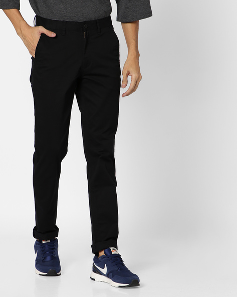 Slim Fit Trousers With Zip Fly By JOHN PLAYERS ( Black )