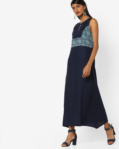 Maxi Dress With Printed Panel By Desi Fusion ( Navyblue )