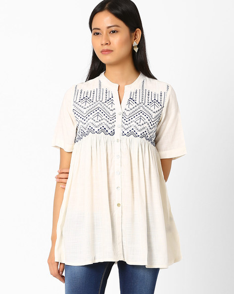 Printed Tunic By Global Desi ( Offwhite )