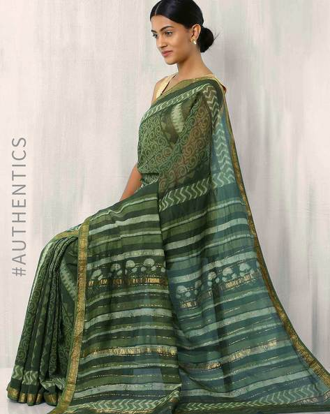 Printed Maheshwari Saree With Zari Border By Indie Picks ( Turquoise )