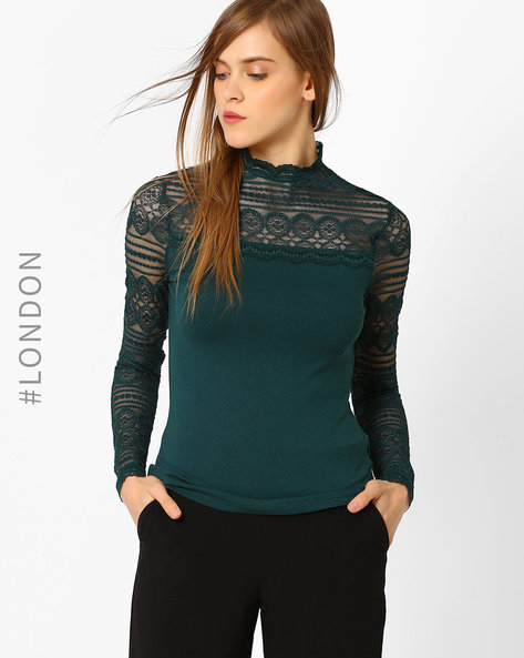 High-Neck Top With Lace By Marks & Spencer ( Darkgreen )