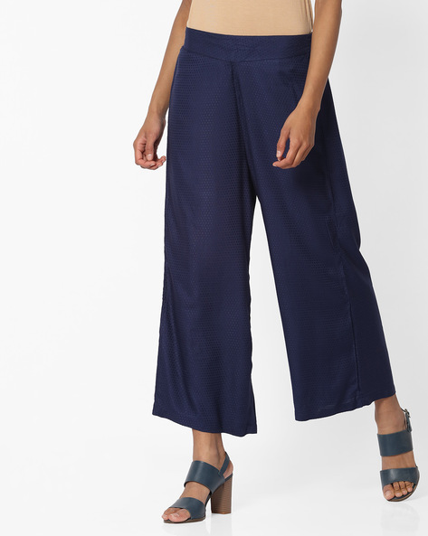 Mid-Rise Palazzos With Semi-Elasticated Waist By AVAASA MIX N' MATCH ( Navy )