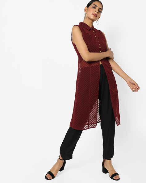 Shirt Tunic With Front Slit By AJIO ( Maroon )