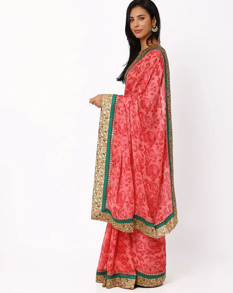 Satin Crepe Saree By Akoya ( Pink )
