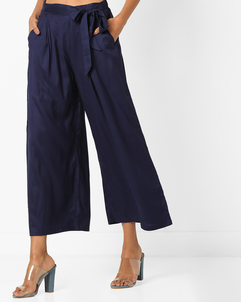 Mid-Rise Palazzos With Drawstring Waist By Bitterlime ( Navyblue )
