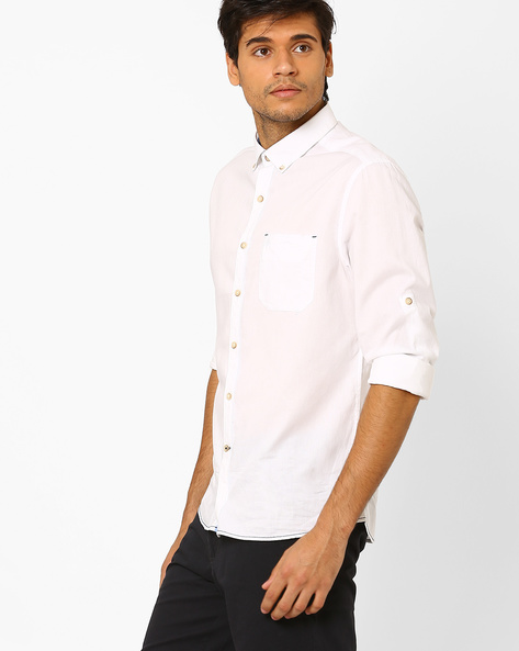 Shirt With Roll-Tab Sleeves By NETPLAY ( White )