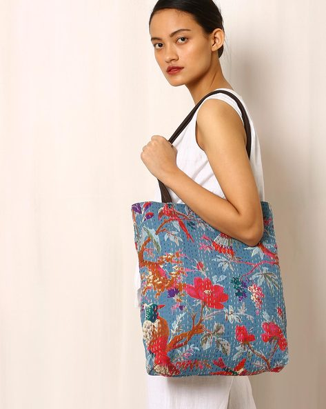 Printed Tote Bag With Kantha Embroidery By Molcha ( Blue )