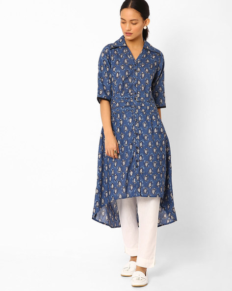 Printed High-Low Shirt Kurta By AYAANY ( Indigo )