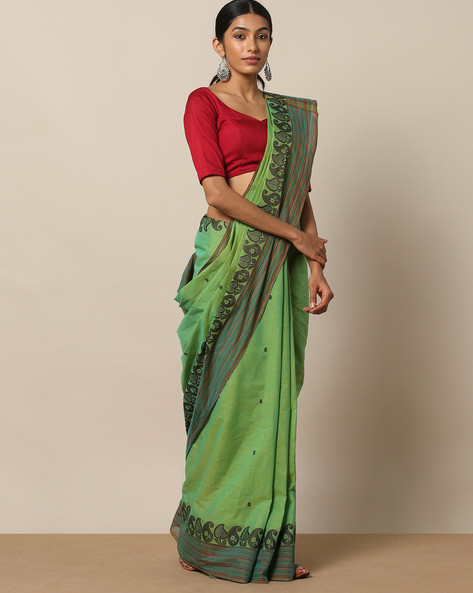 Kanchi Cotton Saree With Woven Border By Indie Picks ( Green ) - 460164712001