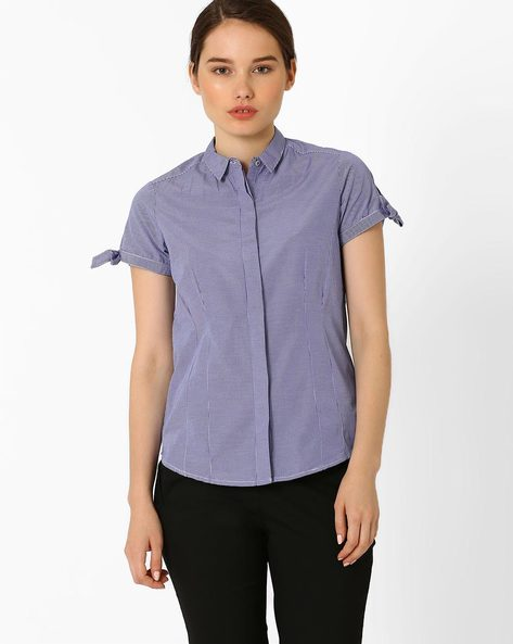 Checked Shirt By Annabelle By Pantaloons ( Navyblue )