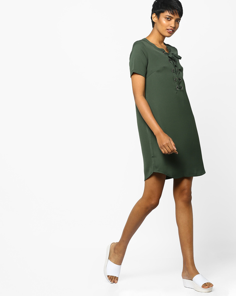 Shift Dress With Tie-Up By Project Eve WW Casual ( Olive )