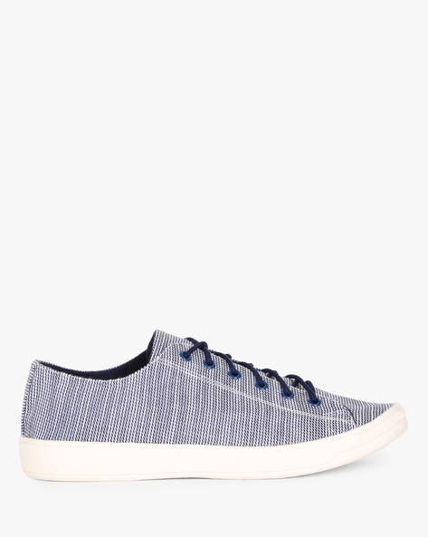 Printed Lace-Up Casual Shoes By AJIO ( Navy )