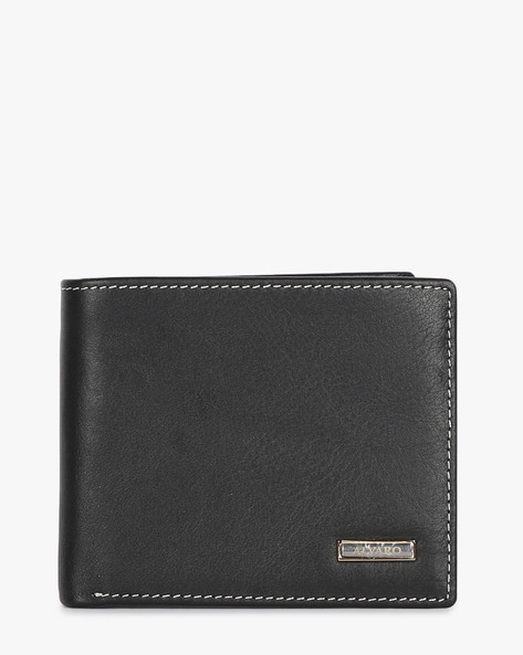 Genuine Leather Wallet With Metal Branding By ALVARO CASTAGNINO ( Black )