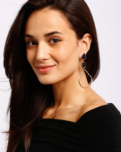 Gold-Plated Drop-Earrings By Ssoul ( Black ) - 460008504003