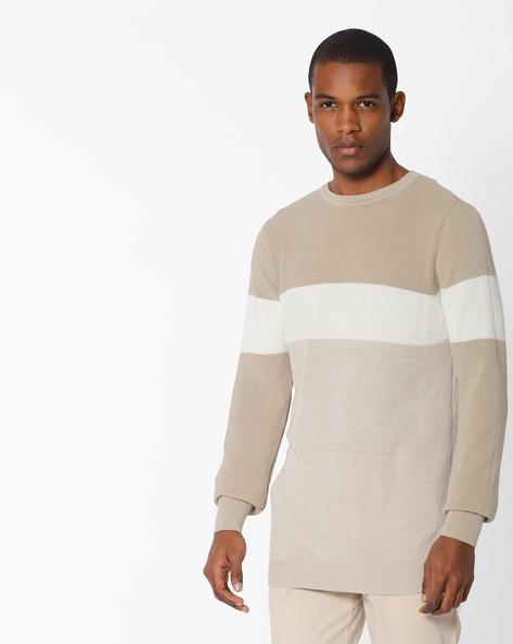 Striped Crew-Neck Pullover By Celio ( Beige )