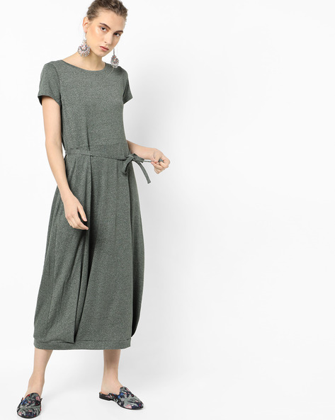 Heathered Dress With Tie-Up By Project Eve WW Casual ( Olive )