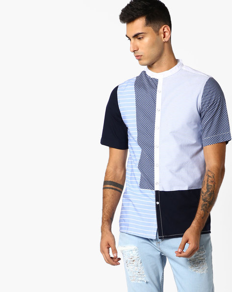 Cut & Sew Slim Fit Shirt By ADAMO LONDON ( Multi )