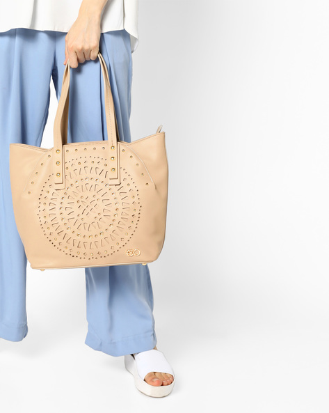 Embellished Tote Bag With Laser Cut Outs By E2O ( Beige )