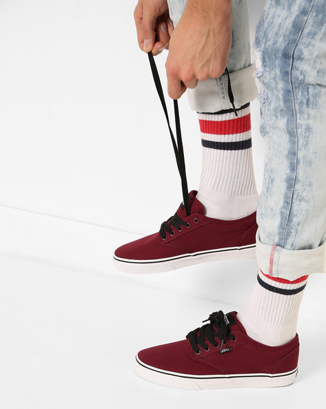 Low-Top Lace-Up Shoes By Vans ( White )