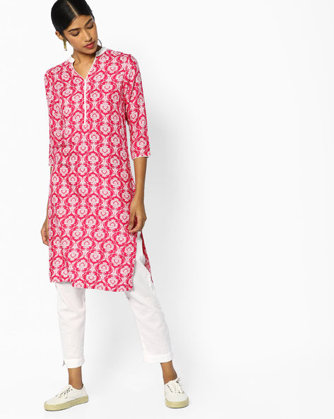 All-Over Print Straight Kurta By Juniper ( Pink )