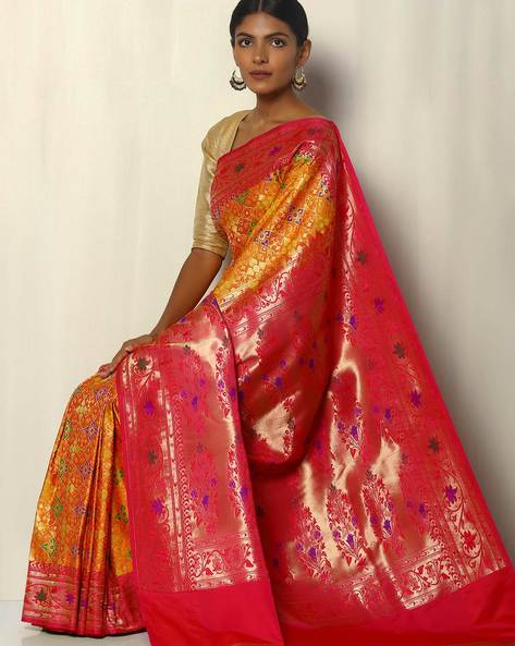 Patola Style Brocade South Silk Saree By Pretty Woman ( Mustard )
