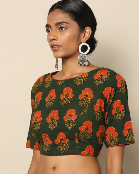 Ajark Printed Cotton Blouse By Indie Picks ( Green )