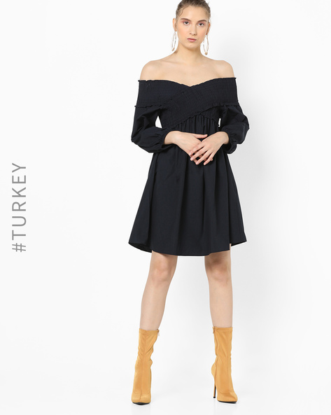 A-line Dress With Ruffled Off-Shoulder Sleeves By TRENDYOL ( Navy )