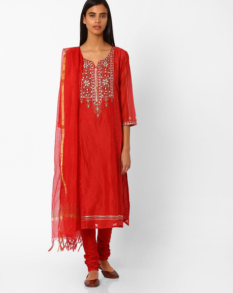 Churidar Kurta With Dupatta By Trishaa By Pantaloons ( Red )
