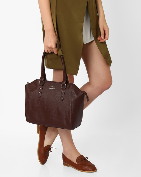 Textured Handbag With Short Handles By Lavie ( Brown )