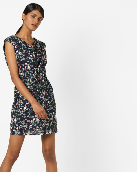 Floral Print Pleated Skater Dress By RIO ( Navy )
