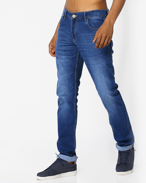 Slim Fit Jeans With Whiskers By JOHN PLAYERS ( Mediumblue )
