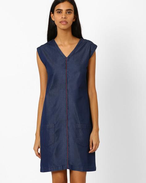 Denim Dress With Patch Pockets By AJIO ( Blue )