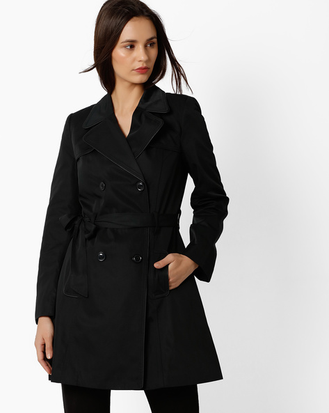 Trench Coat With Notched Lapel By FIG ( Black )