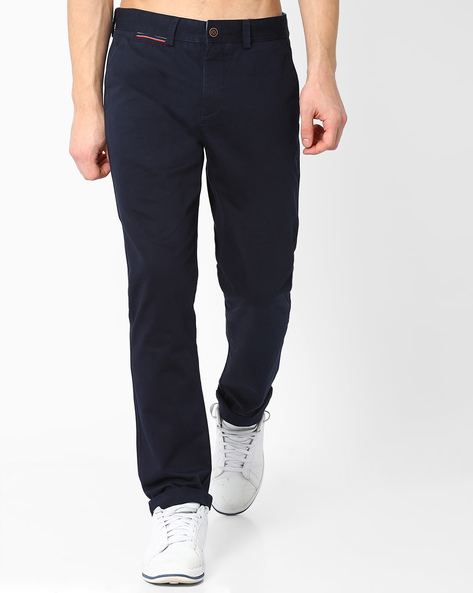 Slim Fit Stretch Trousers By AJIO ( Navy )