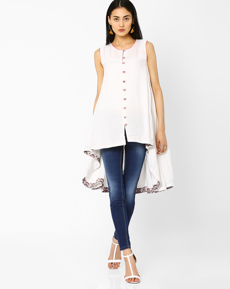 Trapeze High-Low Tunic By AJIO ( Offwhite )