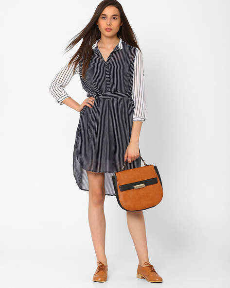 Striped High-Low Hem Tunic By CHM ( Ltmulti )