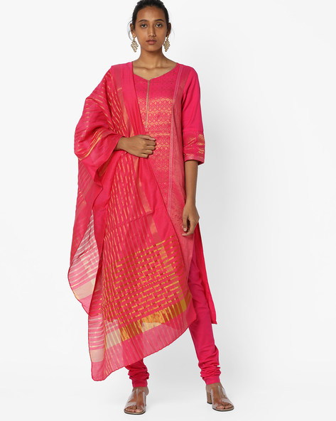 Printed Kurta Suit Set With Dupatta By AURELIA ( Pink ) - 460059490003