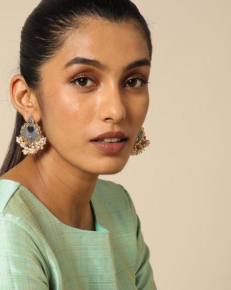 Enamel Pearl Stone Earrings By Spargz ( Blue ) - 460146231001