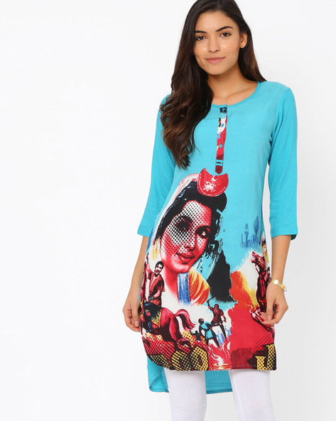 Printed High-Low Tunic By Akkriti By Pantaloons ( Blue )