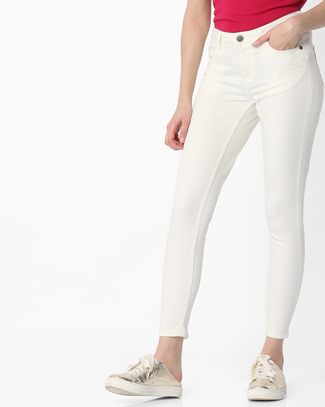 Mid-Rise Jeans With Zippered Hems By DNMX ( White )