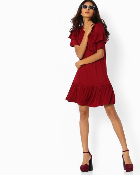 A-line Dress With Ruffles By Femella ( Maroon )