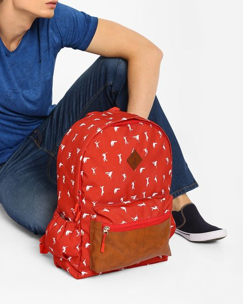 Jazz Print Backpack By AJIO ( Maroon )