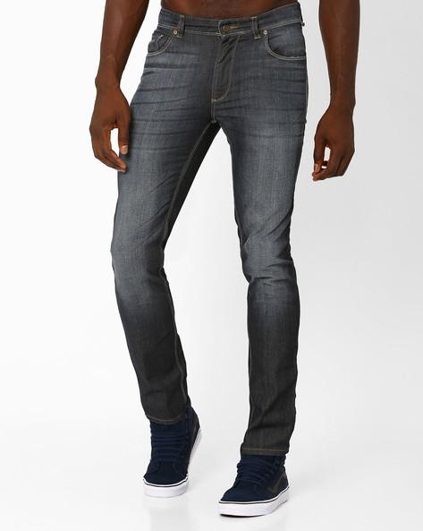 Lightly Washed Slim Fit Jeans By Blue Saint ( Darkbrown )