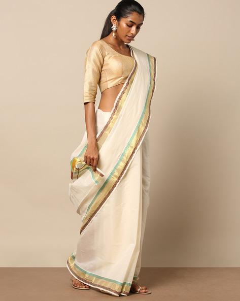 Kerala Kasavu Pettu Design Cotton Saree By Indie Picks ( Offwhite )