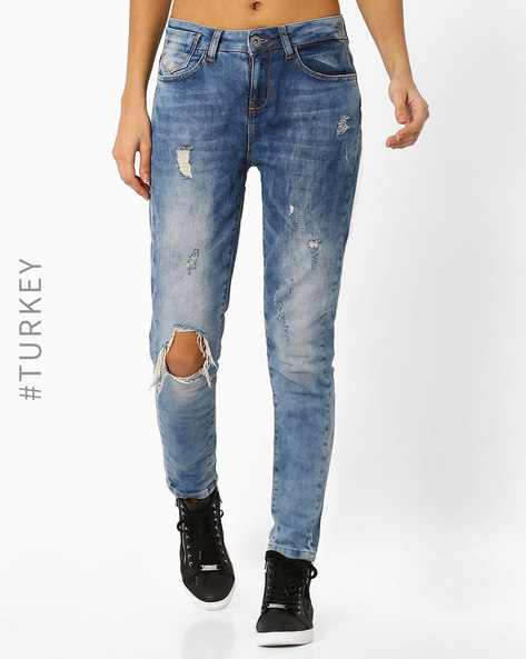 Mildly Distressed Slim Fit Jeans By TIFFANY & TOMATO ( Blue )