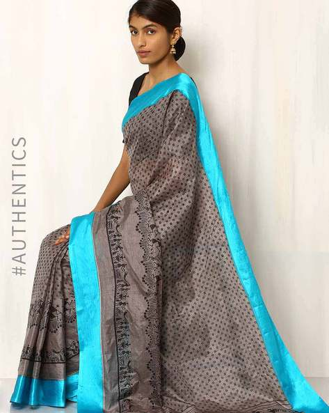 Printed Pure Silk Traditional Saree By Rudrakaashe-MSU ( Blue )