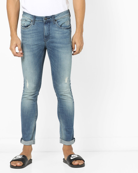 Super Slim Fit Distressed Jeans By ED HARDY ( Blue ) - 460155627002